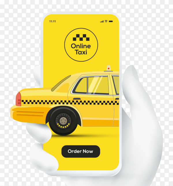 Online taxi order with white hand holding smartphone on transparent background  PNG