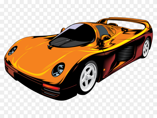 Orange sports car Premium vector PNG