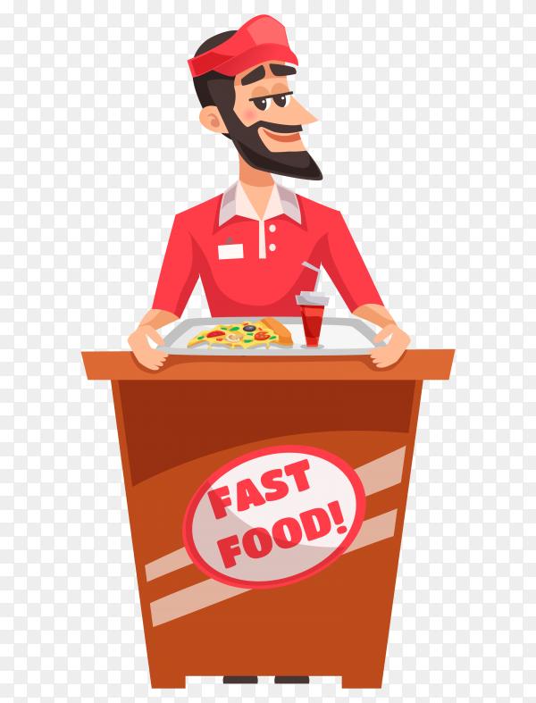 Pizza seller design on transparent background PNG