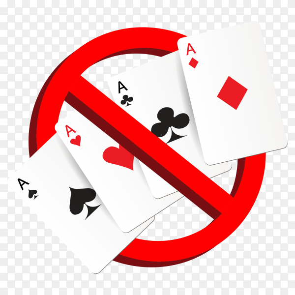 Play gamble suit card prohibition sign Clipart PNG
