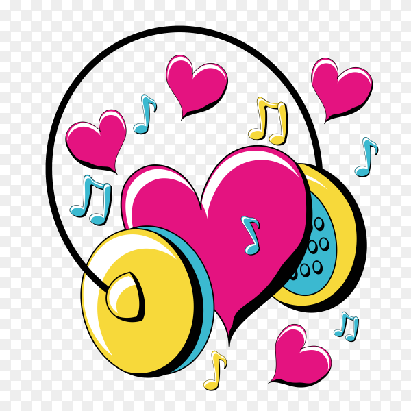 Pop art design with headphones and hearts icon vector PNG