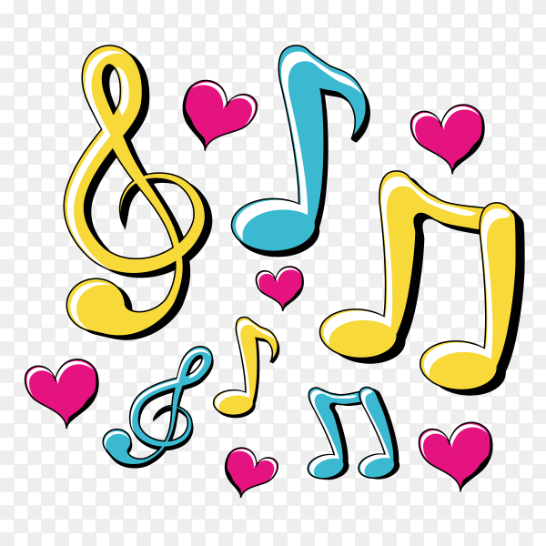 Pop art design with musical notes around Premium vector PNG