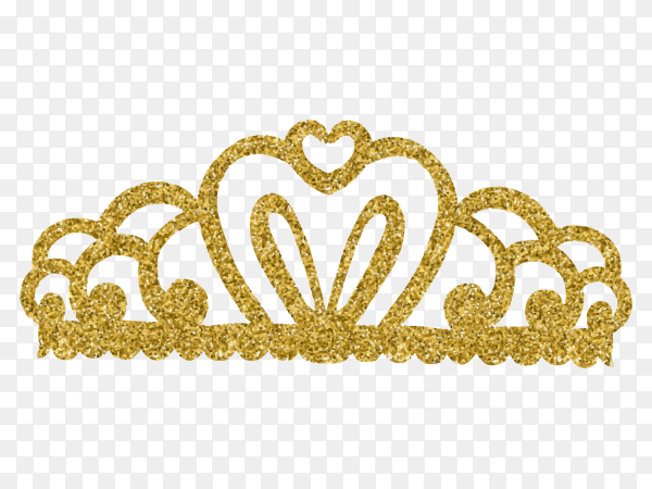 Pretty crown in realistic design on transparent background PNG
