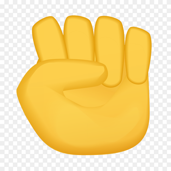 Raised fist gestures emoji on transparent PNG