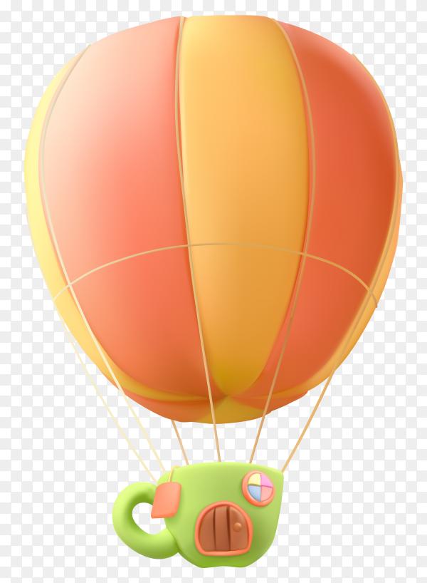 Realistic air balloon Premium vector PNG