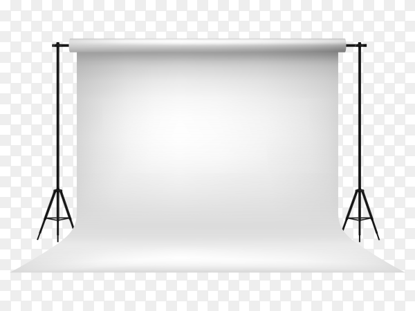 Realistic empty white photo studio backdrop illustration vector PNG