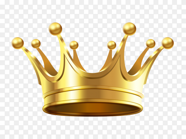 Realistic gold crown Premium vector PNG