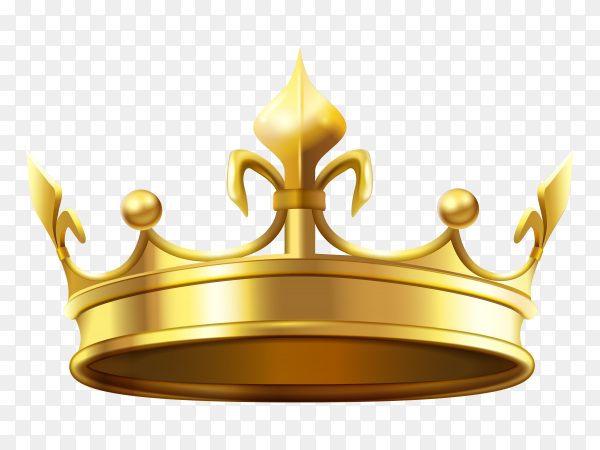 Realistic gold crown vector PNG