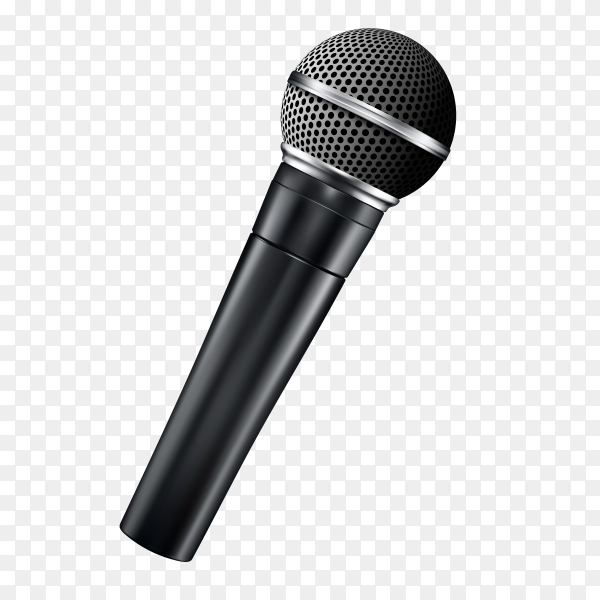 Realistic modern microphone on transparent background PNG