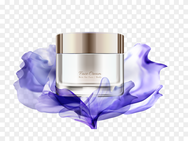 Realistic natural cream ad template on transparent PNG