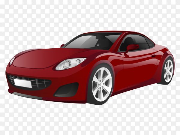 Red sport car isolated on transparent background PNG