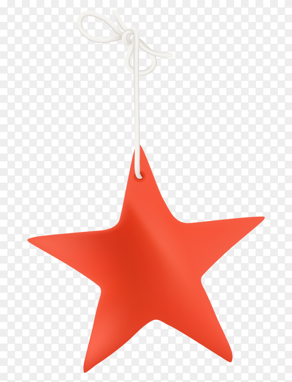 Red star on transparent background PNG