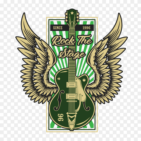 Rock And Roll Music Guitar Illustration on transparent background PNG