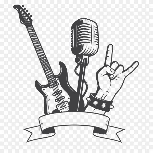 Rock music elements on transparent background PNG