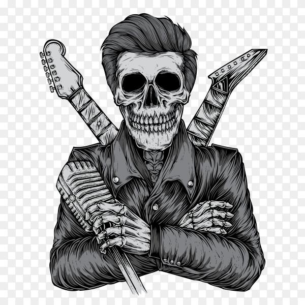 Rocker skull on transparent background PNG
