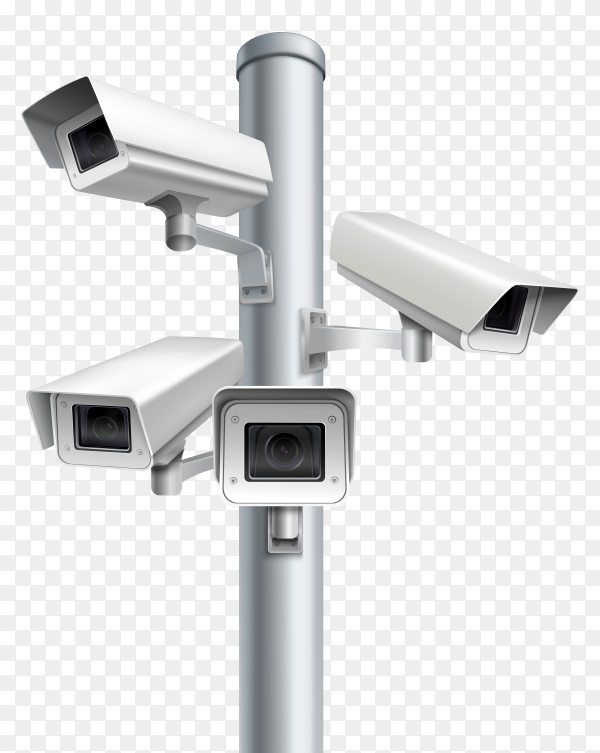 Set of security cameras Premium vector PNG