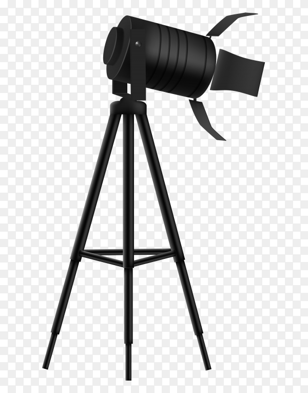 Side view of professional camera with big camera glass  vector PNG