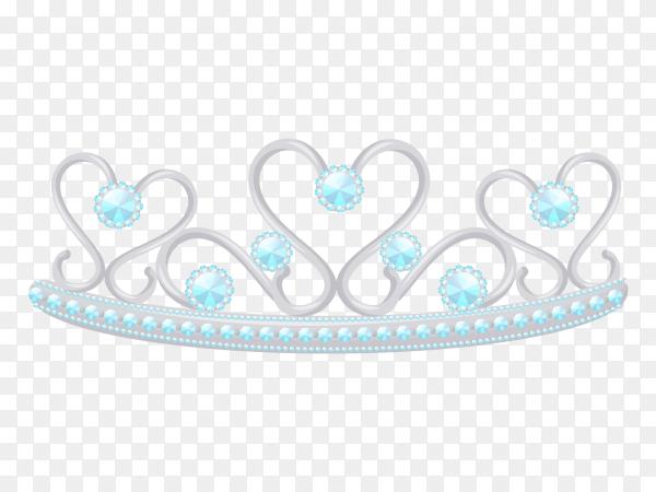 Silver princess tiara Premium vector PNG