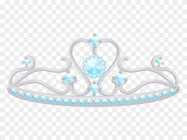 Silver princess tiara vector PNG
