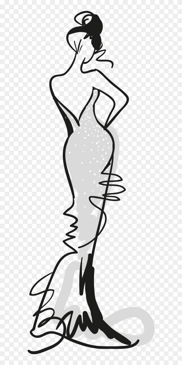Sketch Fashion Girl With Grey Dress Vector Png Similar Png