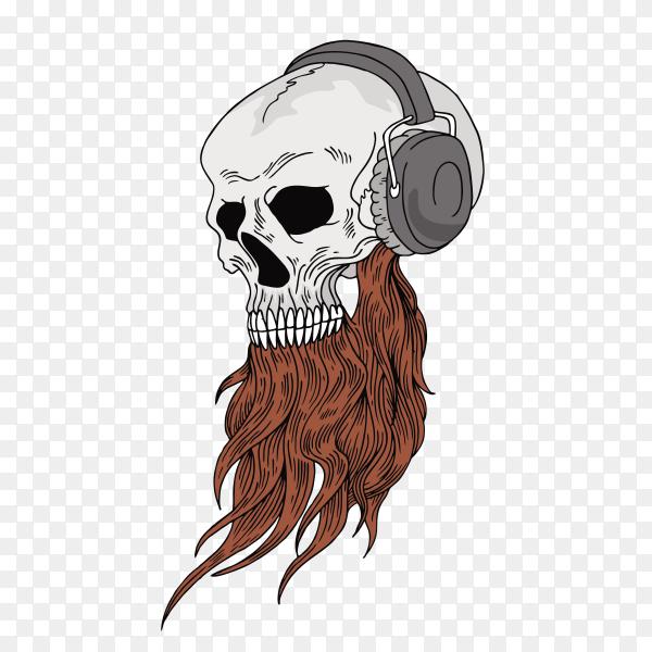 Skull listening music on headphone Clipart PNG