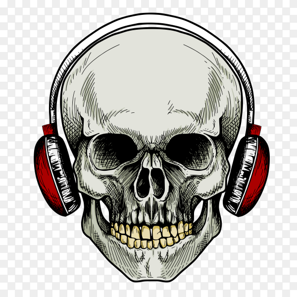 Skull with red headphones Clipart PNG