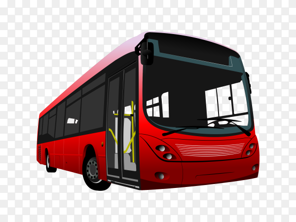 Small urban Red bus on transparent background PNG