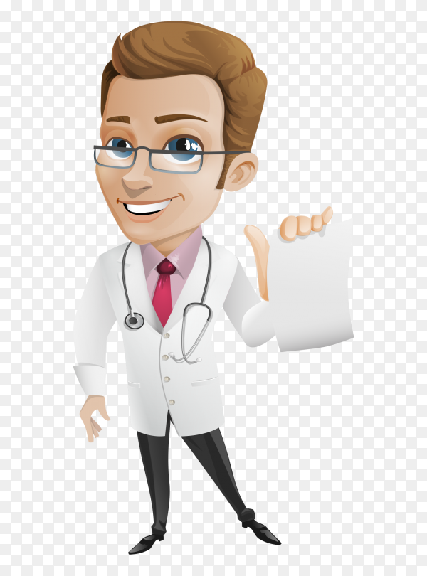 Smiling doctor on transparent background PNG