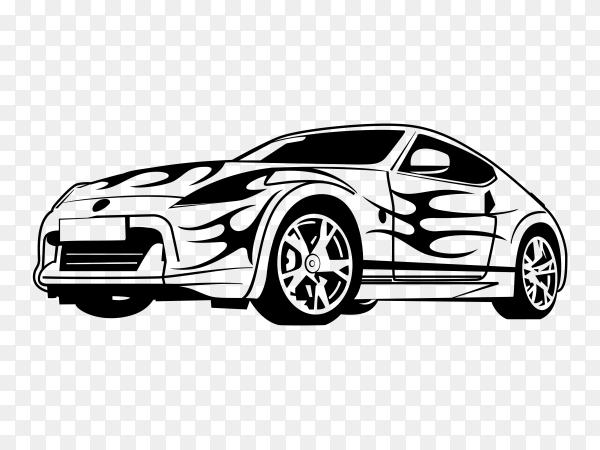 Sport car Silhouette Premium vector PNG