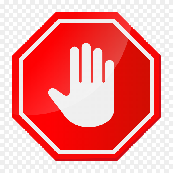 Stop hand sign on transparnt background PNG