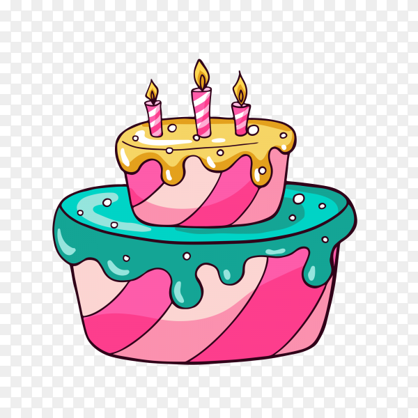 Tasty colorful cake vector PNG