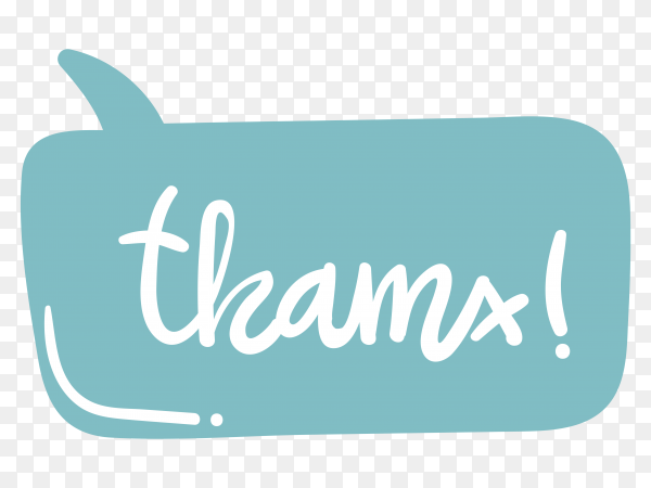 Thanks  with lettering on transparent background PNG