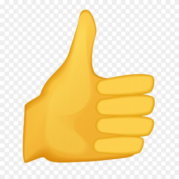 Thumbs up gesture emoji on transparent PNG