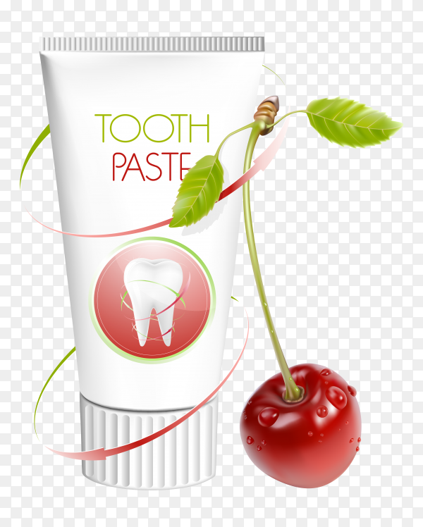 Tooth paste with cherry on transparent PNG