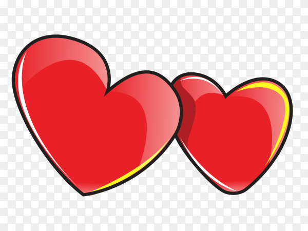 Tow red heart on transparent background PNG