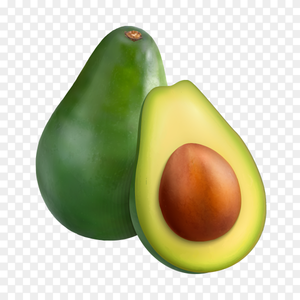 Two halves of fresh avocado isolated on transparent PNG