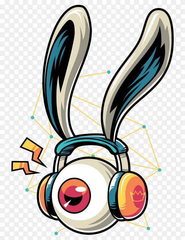 Cartoon listen music on headphone Clipart PNG