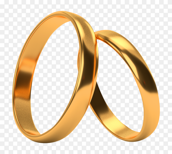 Wedding gold rings lie each other on transparent background PNG