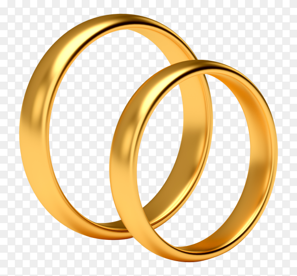 Wedding gold rings on transparent background PNG