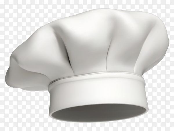 White chef hat on transparent background PNG