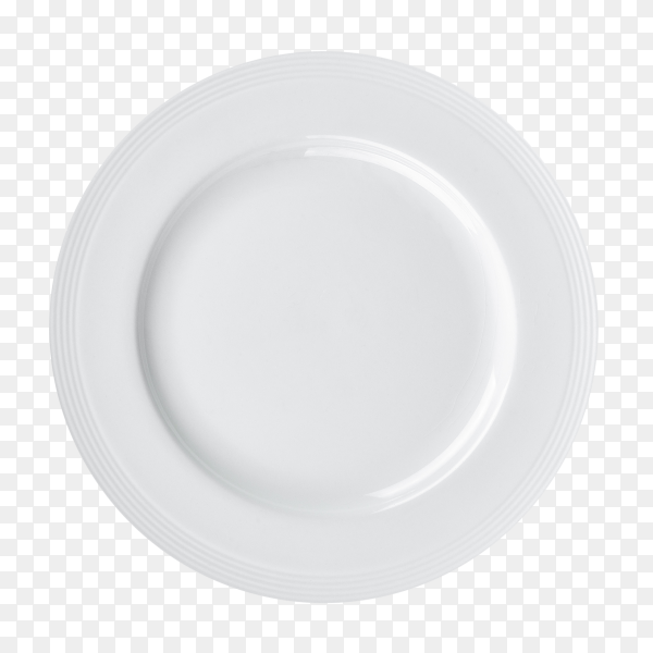 White plate isolated on transparent background PNG