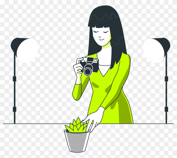 Woman takes a picture of flowers illustration vector PNG