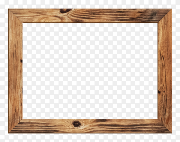 Wood picture frame isolated on transparent background PNG