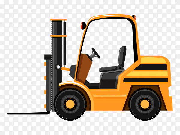 Yellow Forklift on transparent background PNG