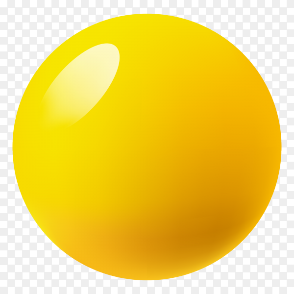 Yellow ball on transparent background PNG