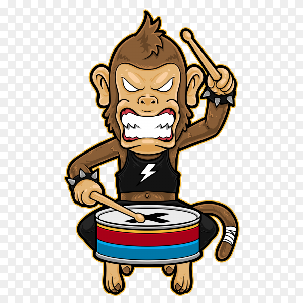 Monkey Playing metal drummer on transparent background PNG