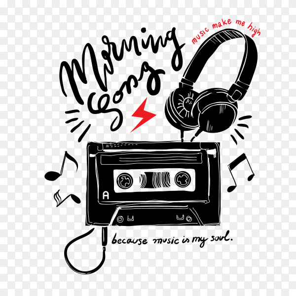 Typography slogan with cassette tape Clipart PNG
