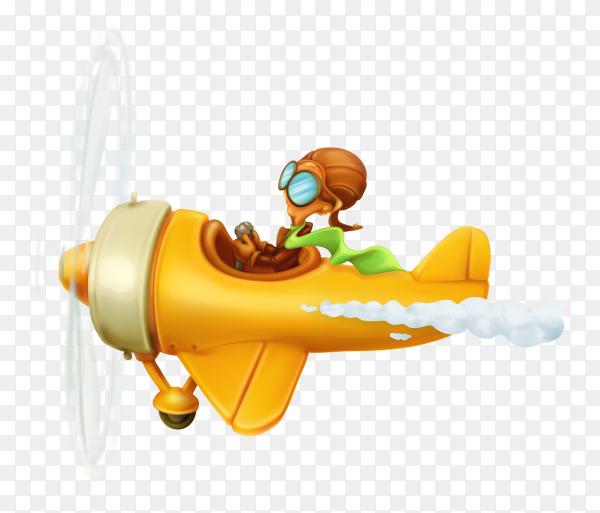 Yellow cartoon helicopter Premium vector PNG