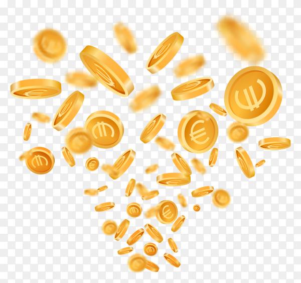 3D realistic falling golden metallic coins vector PNG