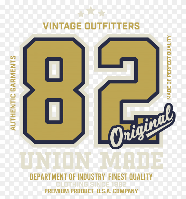 82 number vintage printed tee tshirt design clipart PNG